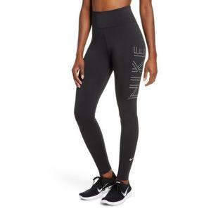 NIKE Dri-fit Running Tights In Black/ Silver Med